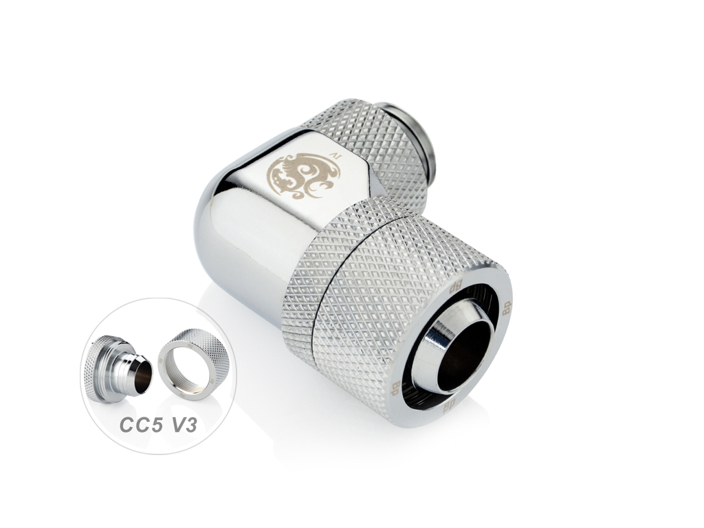 3//4 OD Compression Fitting V3 for Soft Tubing Bitspower G1//4 to 1//2 ID 90/° Dual Rotary Silver Shining