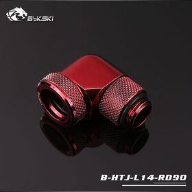 BYKSKI OD14mm G1/4 Rotary 90 Degree Hard Tube Fitting Red